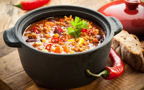 Try a Crock of our hearty hunting-camp style chili!
